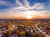 Sunset in the fall over the suburban neighborhood