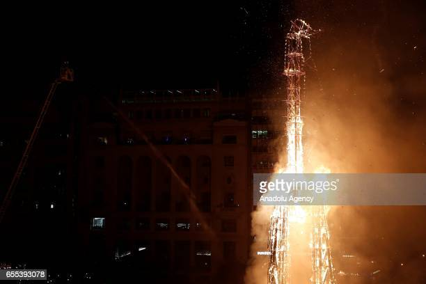 Fallas monument burns during the last day of Las Fallas festival in Valencia Spain on 19 March 2017 The Fallas festival takes place in Valencia from...