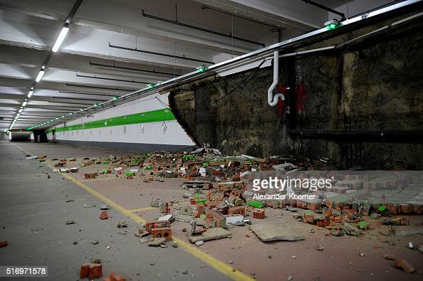 Fallen bricks from a wall in a car park are seen following an explosion at Maelbeek metro station following todays attack on March 22 2016 in...