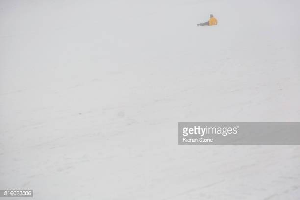 Fallen Person at Ski resort with foggy conditions