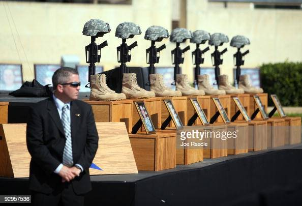 A fallen soldiers memorial is seen in front of the podium where the memorial service that US President Barack Obama and first lady Michelle Obama...