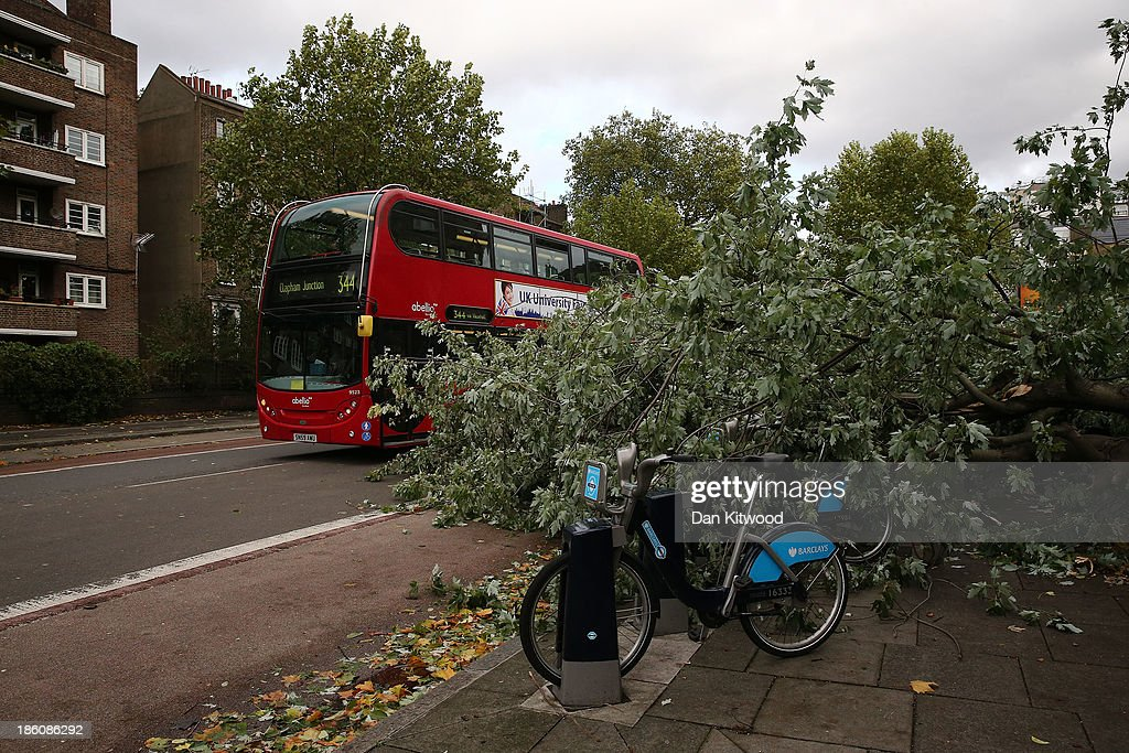 A fallen tree blocks a road as Britain faces travel chaos after severe weather conditions on October 28, 2013 in Lambeth, England. Approximately 220,000 homes are without power and two deaths have been recorded after much of southern England has been affected by a severe storm. Transport links on road, rail, air and sea have been severely disrupted by hurricane-force winds that have almost reached 100 mph in places.