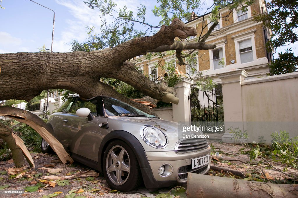 A fallen tree lays atop a destroyed car on Camden Square on October 28, 2013 in London, England. Approximately 220,000 homes are without power and two deaths have been recorded after much of southern England has been affected by a severe storm. Transport links on road, rail, air and sea have been severely disrupted by hurricane-force winds that have almost reached 100 mph in places.