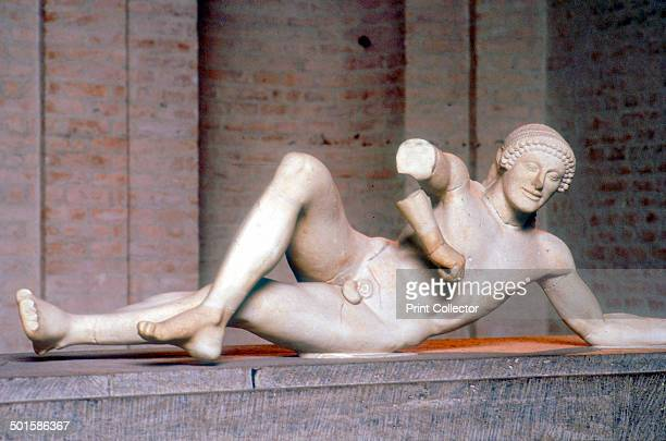 Fallen warrior from the West Pediment of the Temple of Aphaia Aegina Greece c500 480 BC Reconstruction of part of the West Pediment of the Temple of...
