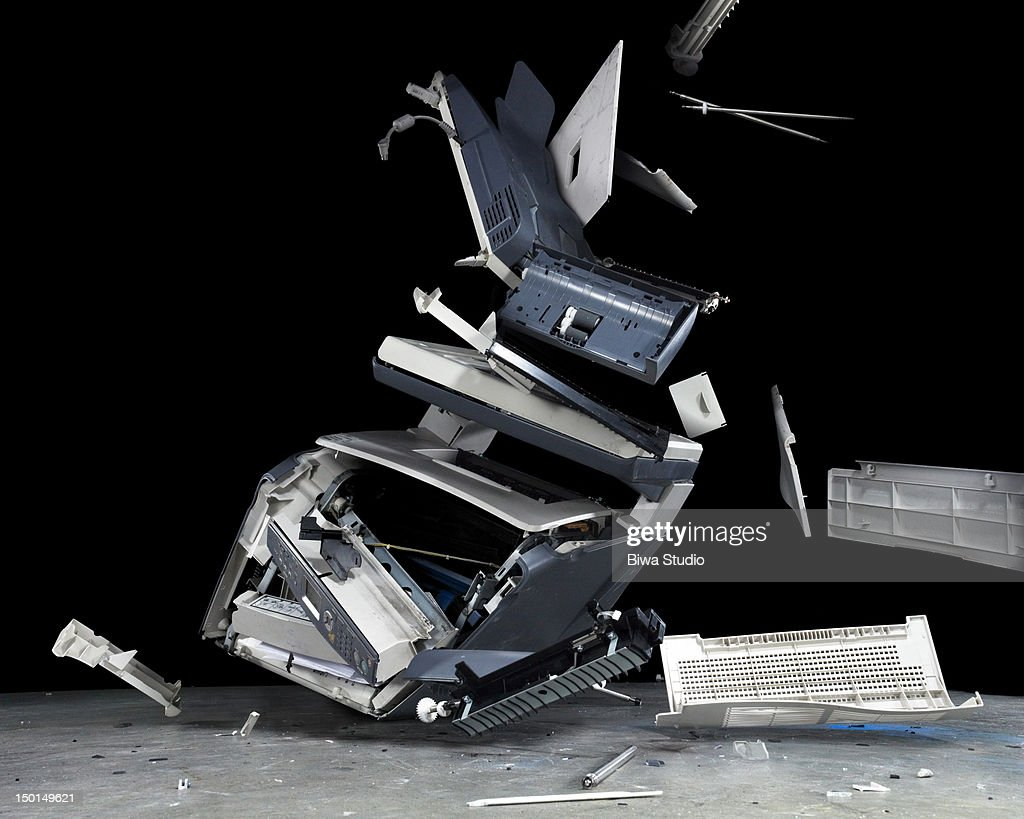 Falling and breaking prirnter&fax machine