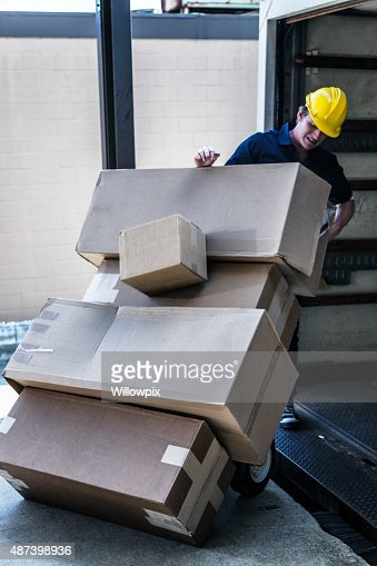 Falling Boxes Loading Dock Delivery Truck Worker