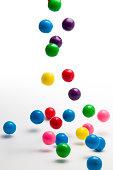 falling colorful gumballs