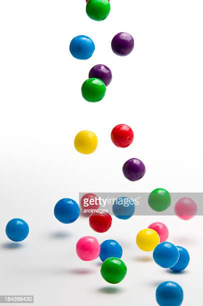 falling colorful gumballs