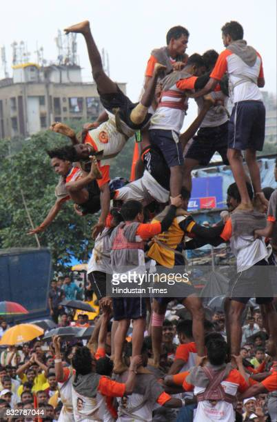 Falling down Govinda Pathaks during the attempt to form human pyramid to break earthen pots on the occasion of Janmashtami at Borivali on August 15...