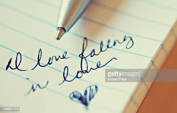 Falling in love text writen on book