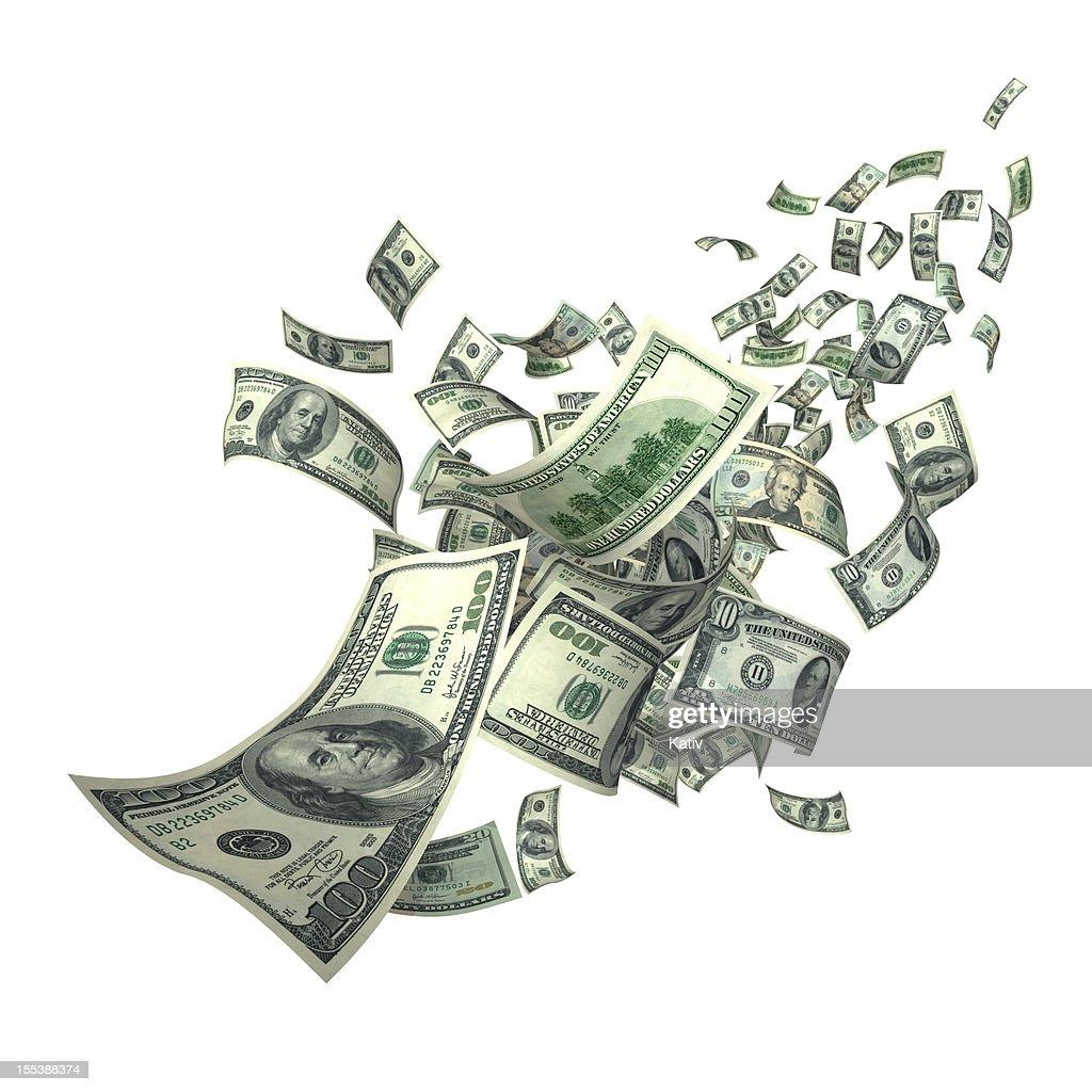 Falling Money Bills (XXXL) : Stock Photo