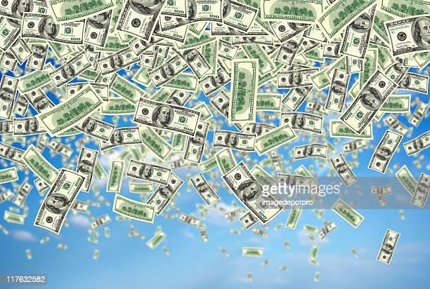 falling money over sky
