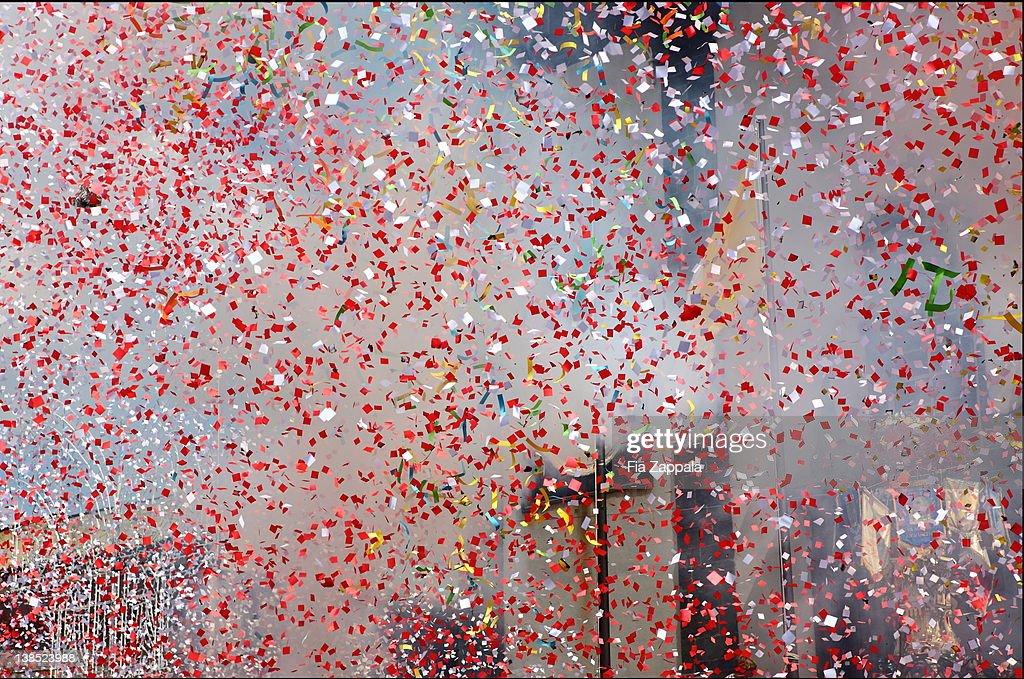 Falling multicolored confetti