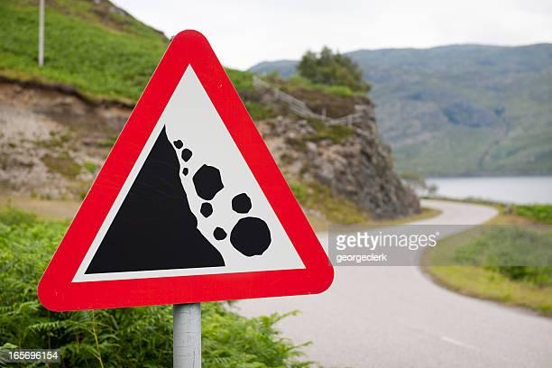 Chute Rocks Panneau d'avertissement de route