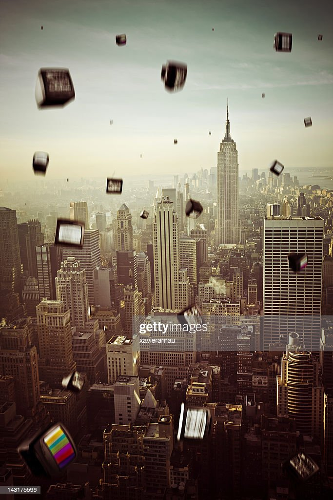 Falling televisions over New York : Stock Photo