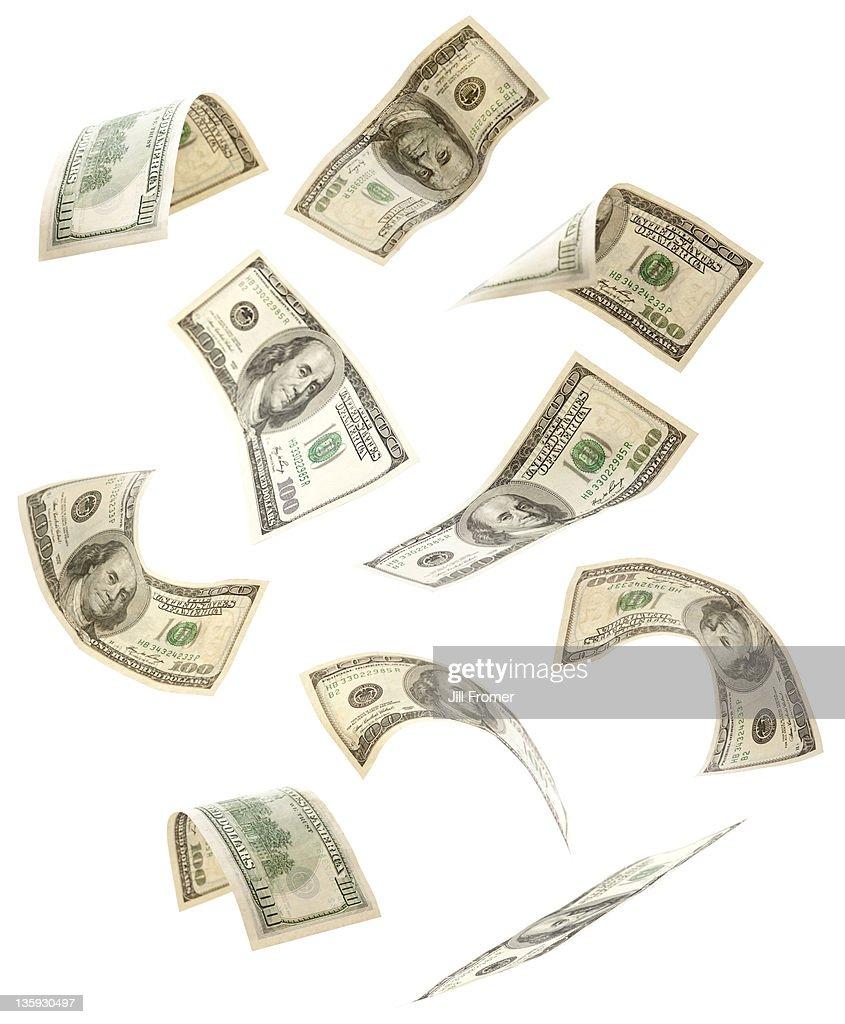 Falling U.S. One-Hundred Dollar Bills : Stock Photo