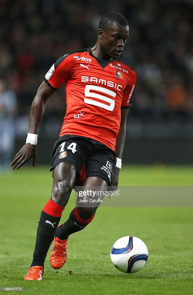 Fallou Diagne of Rennes in action during the French Ligue 1 match between Stade Rennais (Rennes) and Paris Saint-Germain at Roazhon Park stadium on October 30, 2015 in Rennes, France.