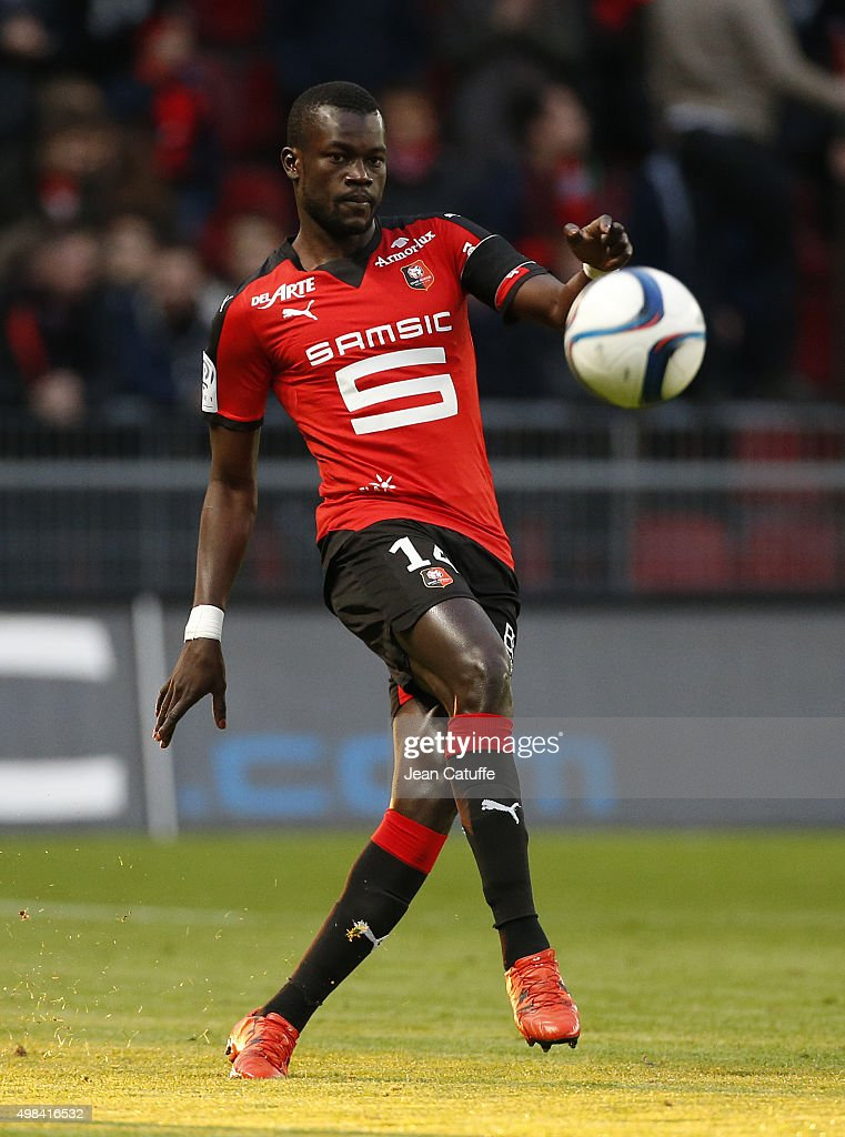 Fallou Diagne of Rennes in action during the French Ligue 1 match between Stade Rennais (Rennes) and Girondins de Bordeaux at Roazhon Park stadium on November 22, 2015 in Rennes France.