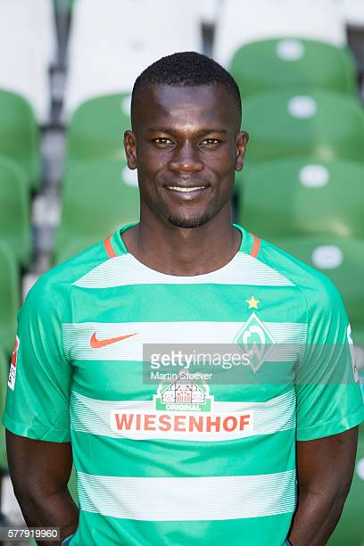 Fallou Diagne poses during the offical team presentation of Werder Bremen on July 20 2016 in Bremen Germany