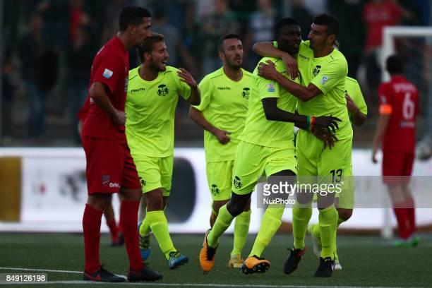 Fallou Ndiaye Samb of FC Ravenna Calcio celebrate the 11 goal during the Lega Pro 17/18 group B match between Teramo Calcio 1913 and Ravenna FC at...