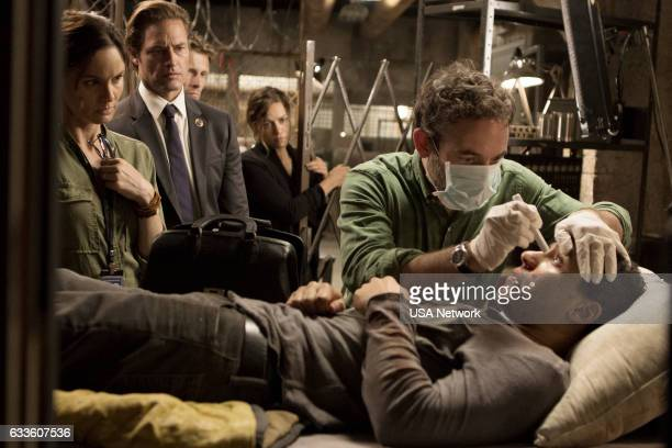 COLONY 'Fallout' Episode 206 Pictured Sarah Wayne Callies as Katie Bowman Josh Holloway as Will Bowman Bethany Joy Lenz as Morgan Chris Conner as Dr...