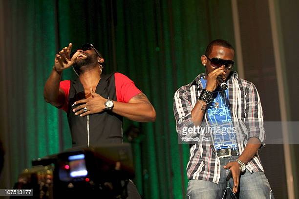 Fally Ipupa and J Martins during rehearsals ahead of the MTV Africa Music Awards with Airtel at the EKO Expo Centre on December 10 2010 in Lagos...