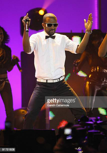 Fally Ipupa performs on stage at the MTV Africa Music Awards with Zain at the Moi International Sports Centre on October 10 2009 in Nairobi Kenya