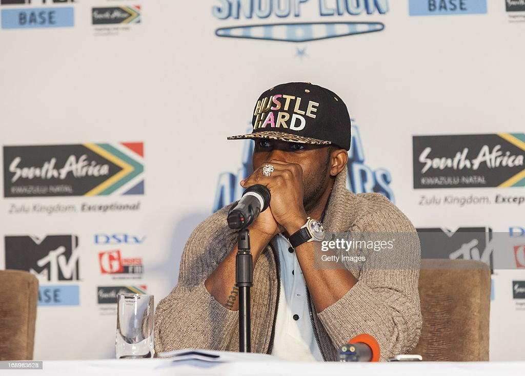 Fally Ipupa pictured at the press conference for MTV Africa All Stars KwaZulu-Natal with Snoop Lion at Beverly Hills Hotel on May17, 2012 in Durban, South Africa.