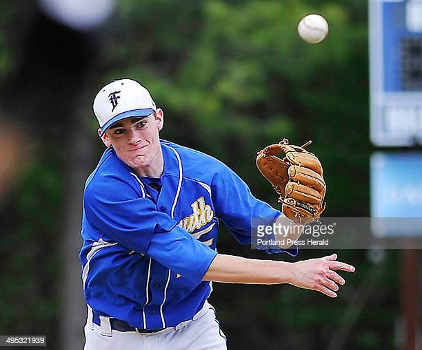 Falmouth Will D'Agostino fires to first to complete the double play after forcing the Yarmouth runner out at second as Yarmouth hosts Falmouth in...