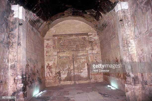 False Doors and Wallpaintings in the Sanctuary of Osiris Temple of Sethos I Abydos Egypt 19th Dynasty c1280 BC