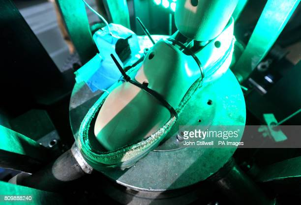 A false leg used in a bomb blast simulation rig is seen at the Department of Bioengineering at Imperial College London during the launch of a new...