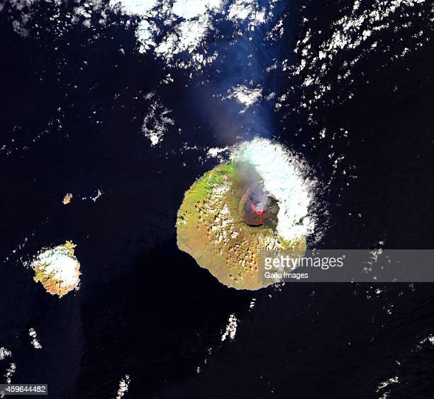 A falsecolour satellite view of Pico do Fogo volcano on November 24 2014 in Fogo Cape Verde Pico do Fogo volcano erupted on 23 November 2014 This...