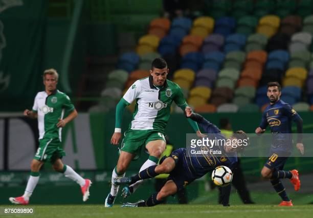 Famalicao midfielder Deni Hocko from Montenegro with Sporting CP midfielder Rodrigo Battaglia from Argentina in action during the Portuguese Cup...