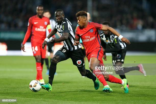 Famara Diedhiou of Angers and Presnel Kimpembe of Paris Saint Germain during the Ligue 1 match between Angers SCO and Paris Saint Germain PSG on...
