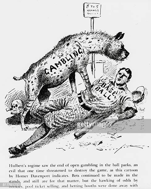 Famed baseball gambling cartoon by Homer Davenport 'Hulbert's regime saw the end of open gambling in the ball parks an evil that one time threatened...