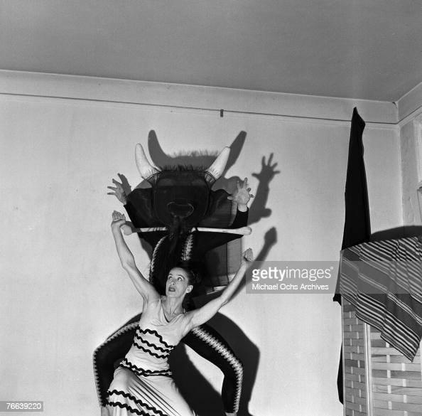 Famed dancer/choreographer Martha Graham rehearses her 'Errand of the Maze' dance with an unnamed male dancer on December 30 in New York New York...