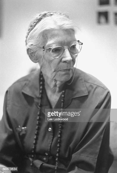 Famed editor and reformer Dorothy Day attending planning session of antiVietnam war activists
