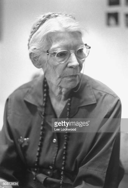 Famed editor and reformer Dorothy Day attending planning session of antiVietnam war activists