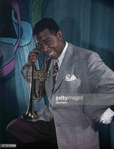 Famed jazz trumpeter Louis 'Satchmo' Armstrong in photo placed in files in 49 Color photo