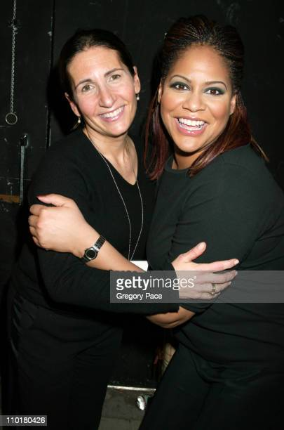 Famed make up artist Bobbi Brown and Kim Coles posing backstage