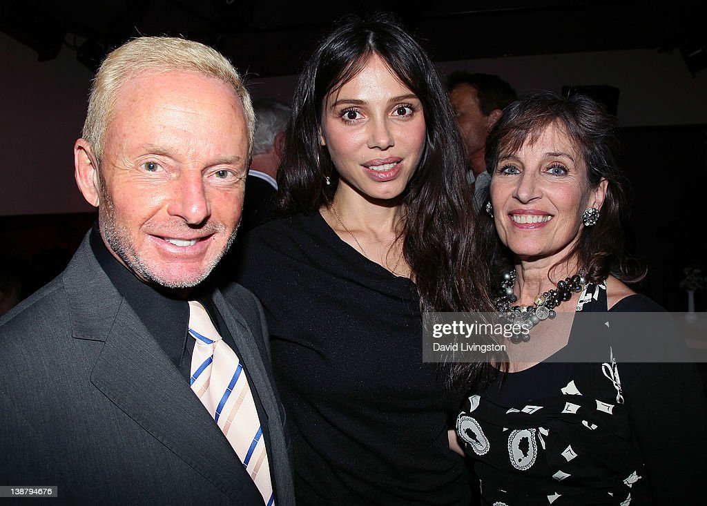 Famed publicist Elliot Mintz and singers <a gi-track='captionPersonalityLinkClicked' href=/galleries/search?phrase=Oksana+Grigorieva&family=editorial&specificpeople=5834422 ng-click='$event.stopPropagation()'>Oksana Grigorieva</a> and <a gi-track='captionPersonalityLinkClicked' href=/galleries/search?phrase=Andrea+Marcovicci&family=editorial&specificpeople=1182556 ng-click='$event.stopPropagation()'>Andrea Marcovicci</a> pose following Grigorieva's U.S. performing debut at Gardenia on February 11, 2012 in Los Angeles, California.