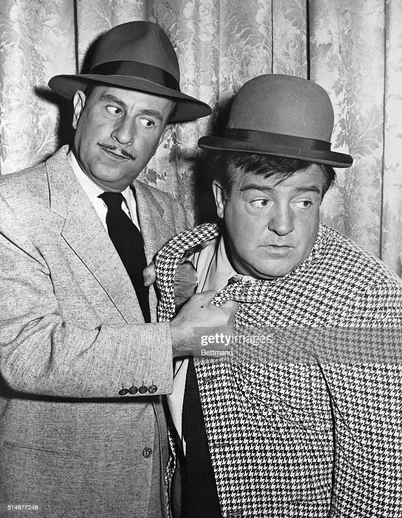 Famed screen comics <a gi-track='captionPersonalityLinkClicked' href=/galleries/search?phrase=Bud+Abbott&family=editorial&specificpeople=228402 ng-click='$event.stopPropagation()'>Bud Abbott</a> (left) and <a gi-track='captionPersonalityLinkClicked' href=/galleries/search?phrase=Lou+Costello&family=editorial&specificpeople=123845 ng-click='$event.stopPropagation()'>Lou Costello</a> are shown in a characteristic pose in this January 10, 1952 file photo. The 52-year-old Costello died of a heart attack at Doctor's Hospital here March 3rd. <a gi-track='captionPersonalityLinkClicked' href=/galleries/search?phrase=Bud+Abbott&family=editorial&specificpeople=228402 ng-click='$event.stopPropagation()'>Bud Abbott</a> required treatment for shock when he learned of his close friend and partner's death. Costello, stricken a week ago, was considered to be recovering when death struck suddenly.