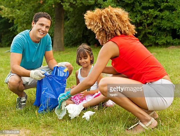 Familes Picking Up Litter