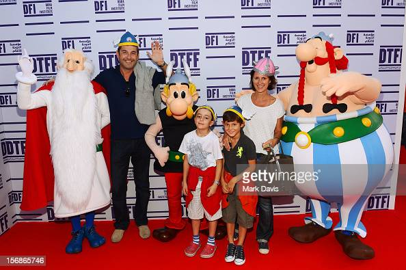 Families and Children pose with Asterix Obelix and Getafixat attend the 'Asterix and Obelix 3D' Premiere during the 2012 Doha Tribeca Film Festival...