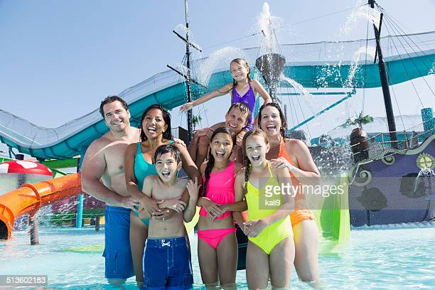 Families and friends at water park