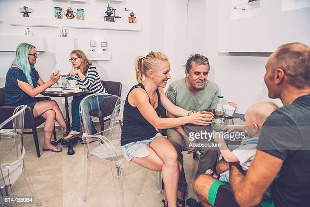 Families and Students at Coffee Bar Cafe Trieste, Europe