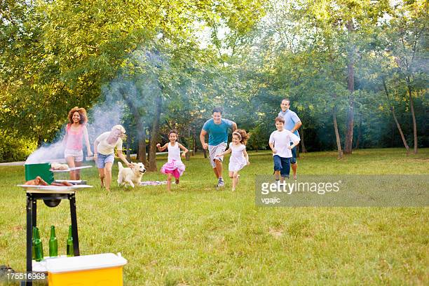 Families enjoying a barbecue