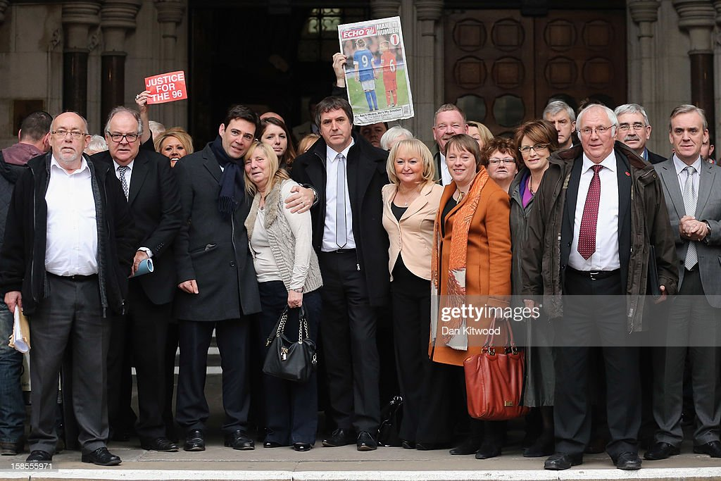 Families of the 96 football fans who lost their lives in the Hillsborough Disaster gather with supporters outside the High Court on December 19, 2012 in London, England. An application presented by the attorney general, Dominic Grieve to Lord Chief Justice, Lord Judge has resulted in the quashing of the original accidental death verdict and an order for fresh inquests. The Hillsborough disaster occurred during the FA Cup semi-final tie between Liverpool and Nottingham Forest football clubs in April 1989 at the Hillsborough Stadium in Sheffield, which resulted in the deaths of 96 football fans. (Photo by Dan Kitwood/Getty Images