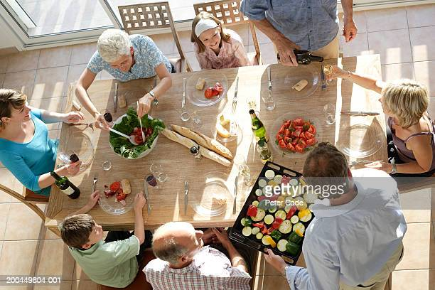 Familily having dinner together, elevated view