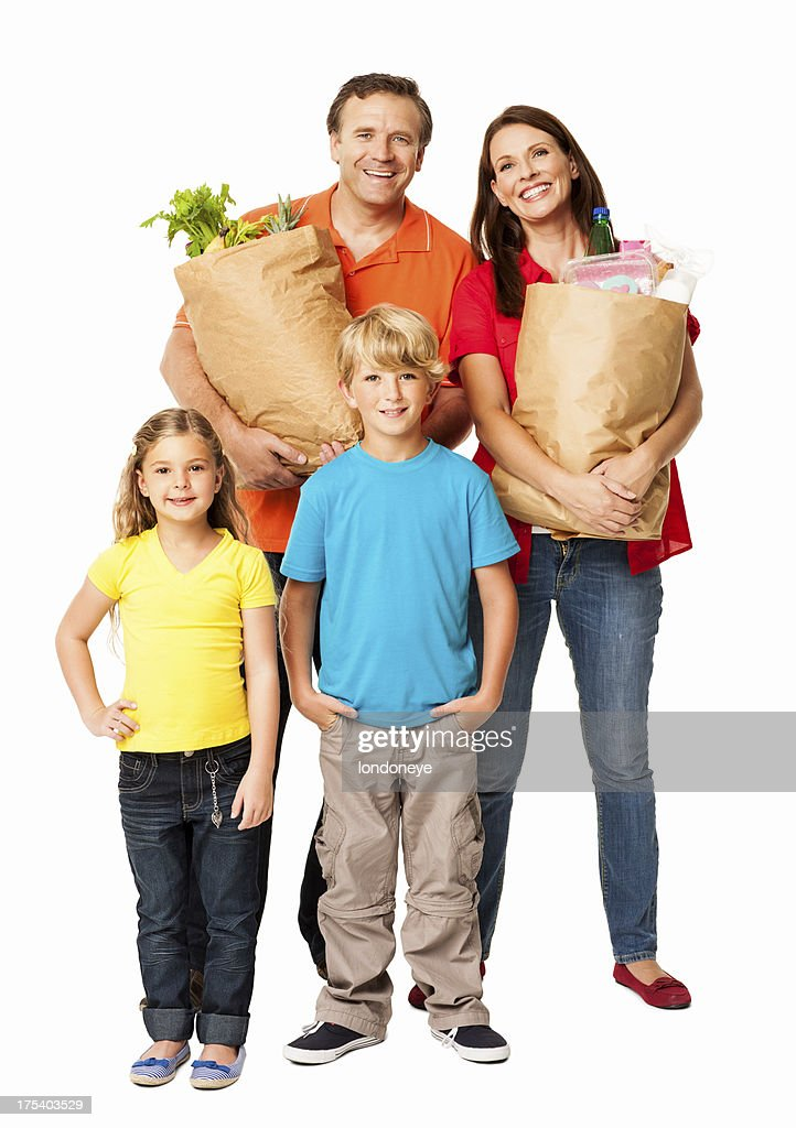 Family After Grocery Shopping - Isolated : Stock Photo